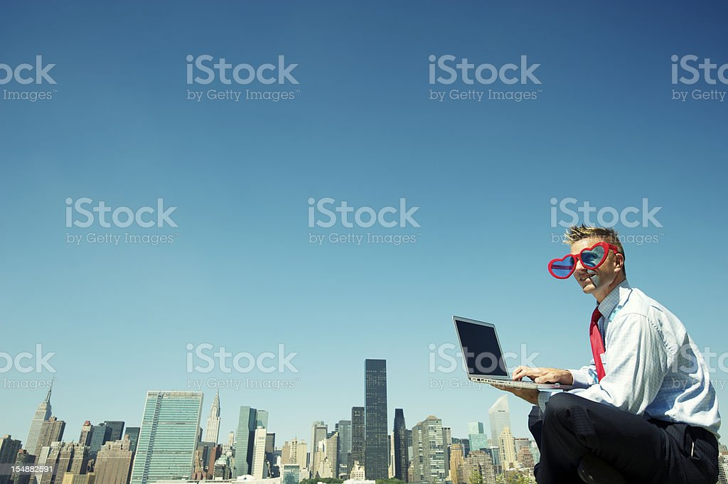 Businessman Types by Skyline with Heart Glasses royalty-free stock photo