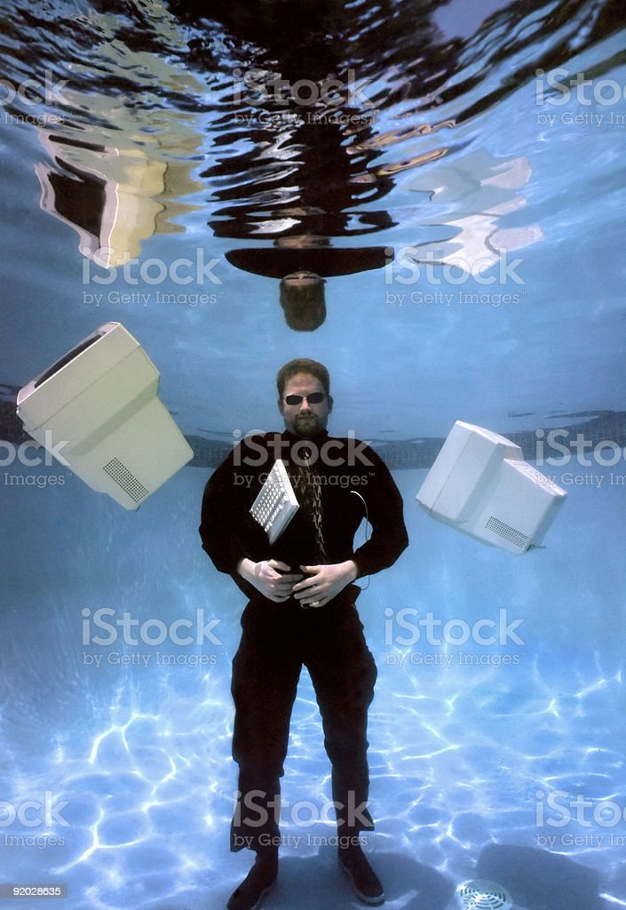 Businessman Under Water royalty-free stock photo