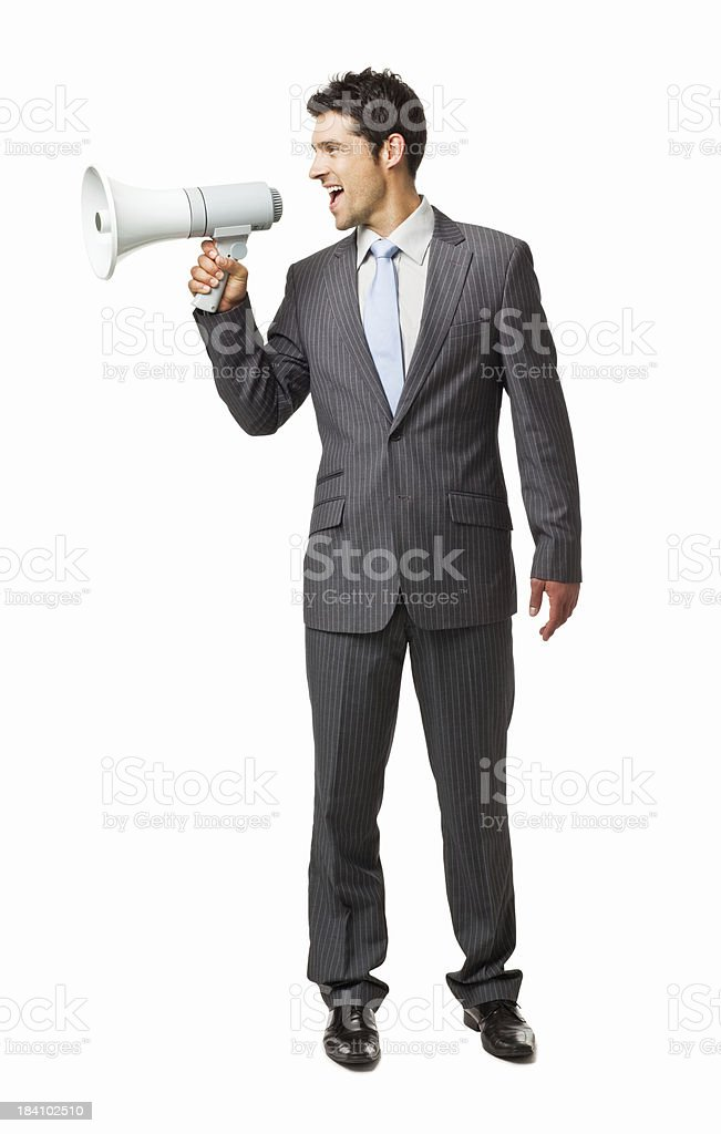 Businessman Using a Bullhorn to the Side - Isolated royalty-free stock photo