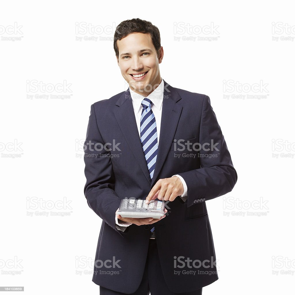 Businessman Using a Calculator - Isolated royalty-free stock photo