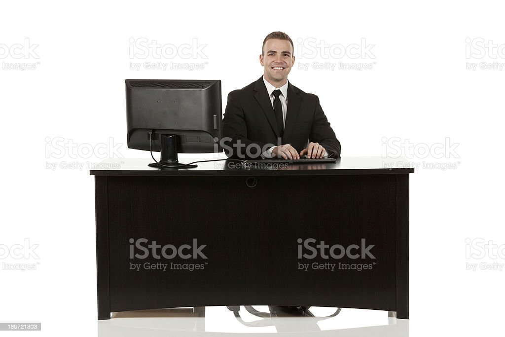 Businessman using a computer in his office royalty-free stock photo