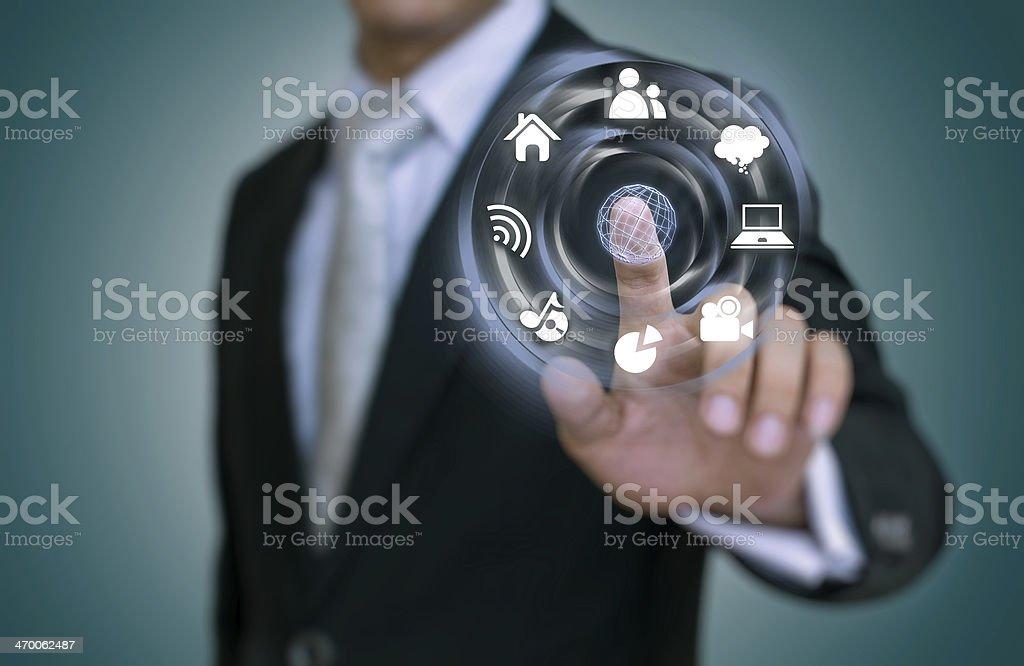 Businessman using a modern interface stock photo