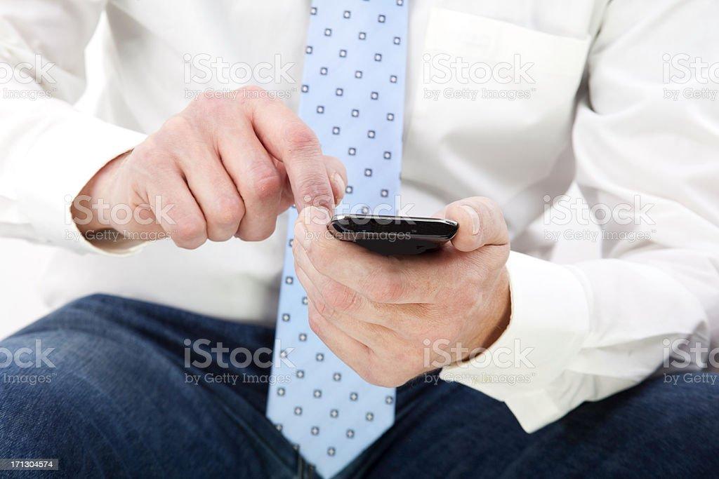 Businessman using a modern smartphone stock photo