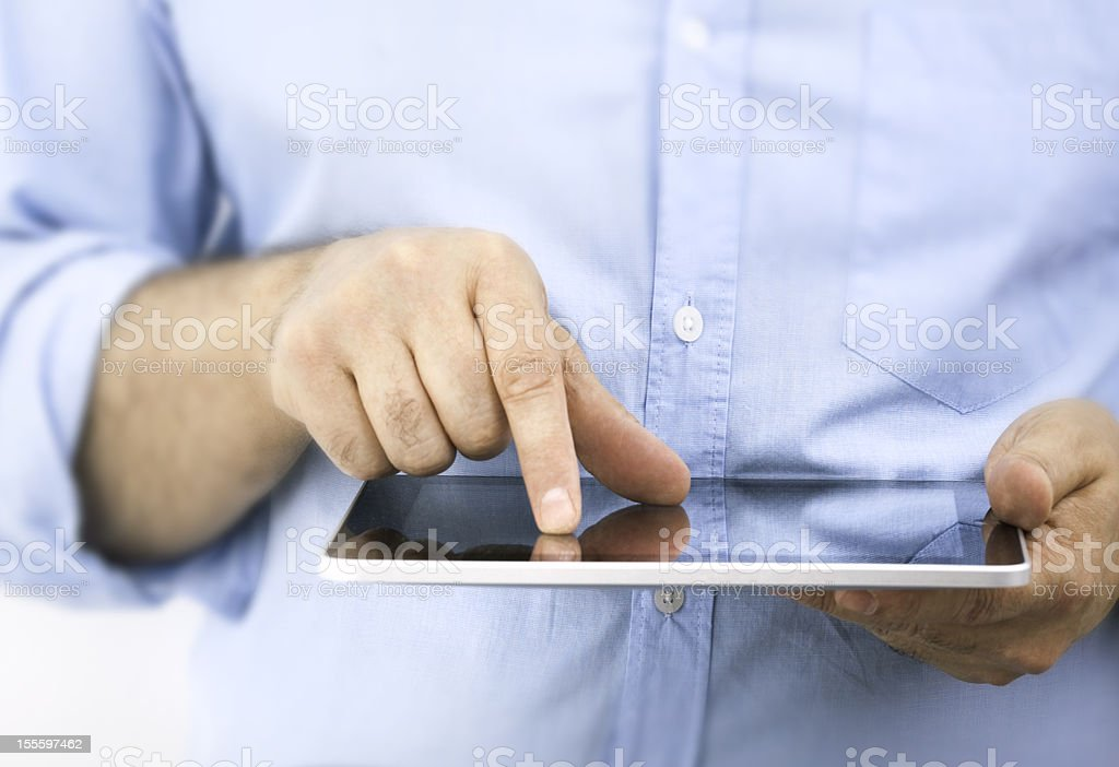 Businessman using a modern tablet computer stock photo