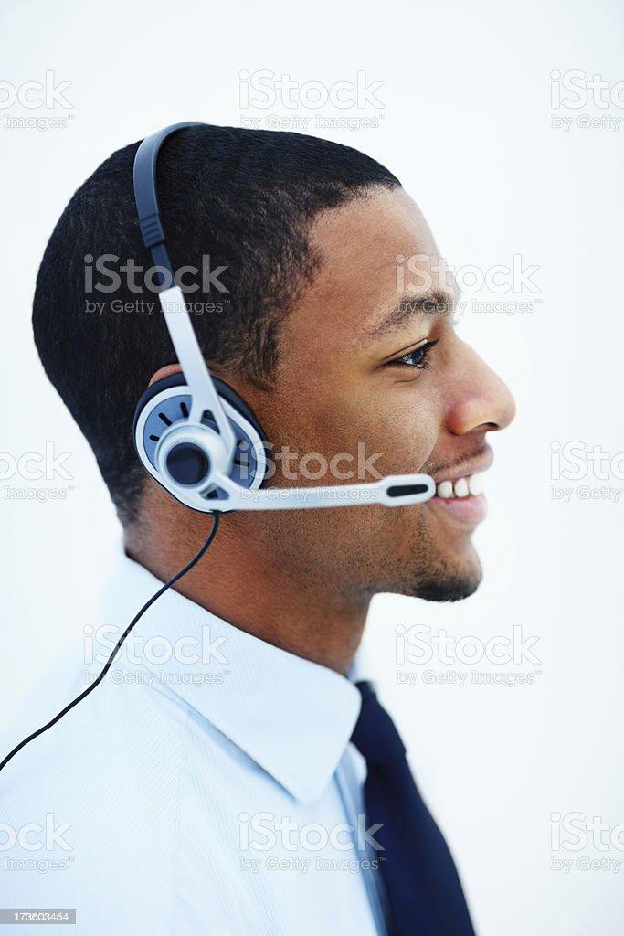 Businessman using headphones royalty-free stock photo