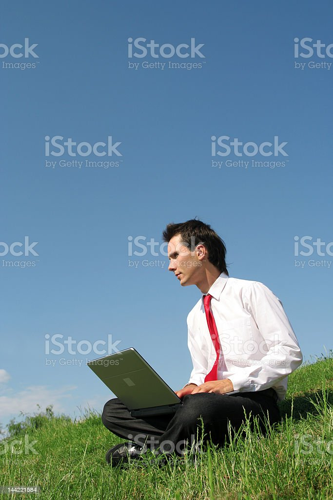 Businessman using laptop outdoors royalty-free stock photo