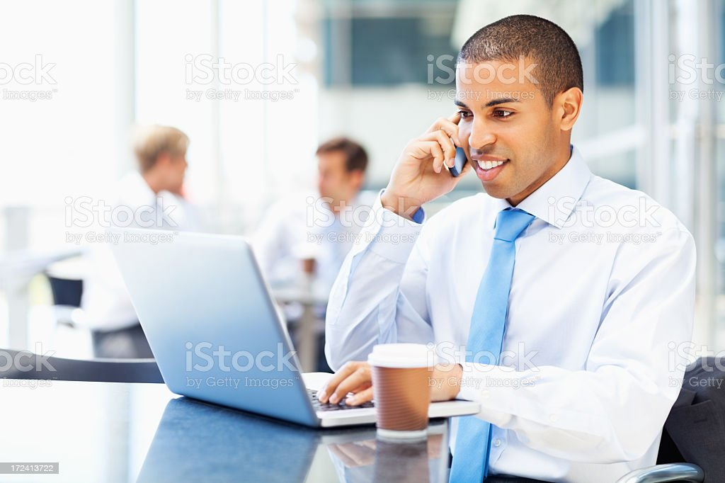Businessman Using Laptop While On Call royalty-free stock photo