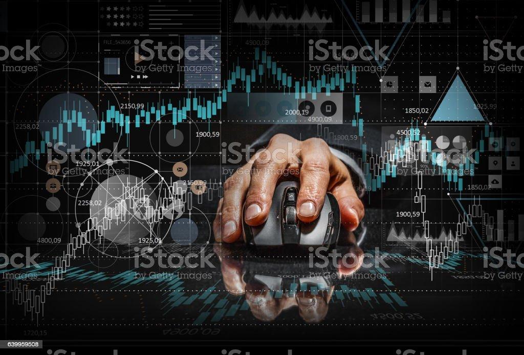 Businessman using mouse . Mixed media stock photo