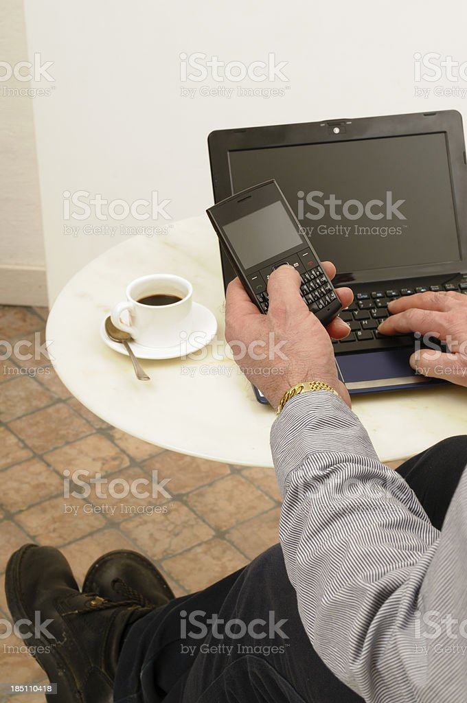 Businessman Using PC inside Cafe royalty-free stock photo