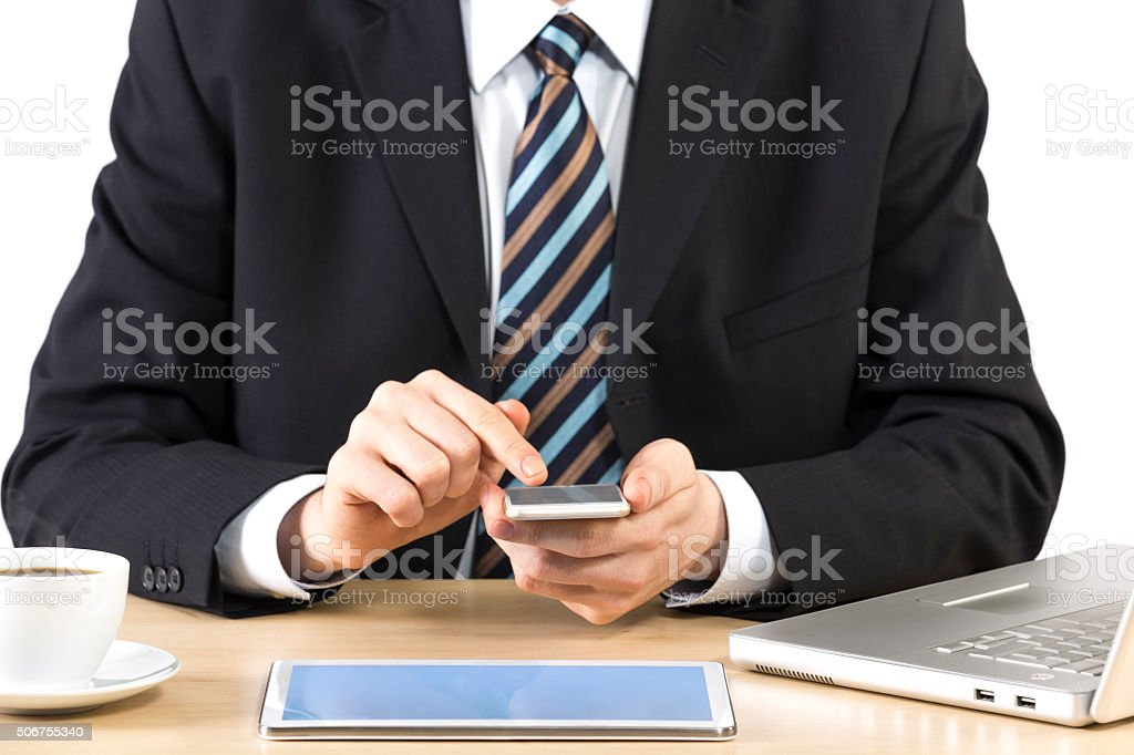 businessman using technology stock photo