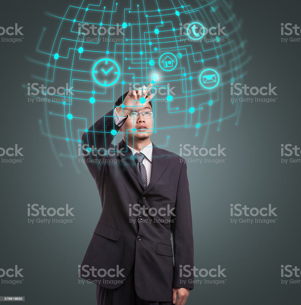 Businessman using VR stock photo