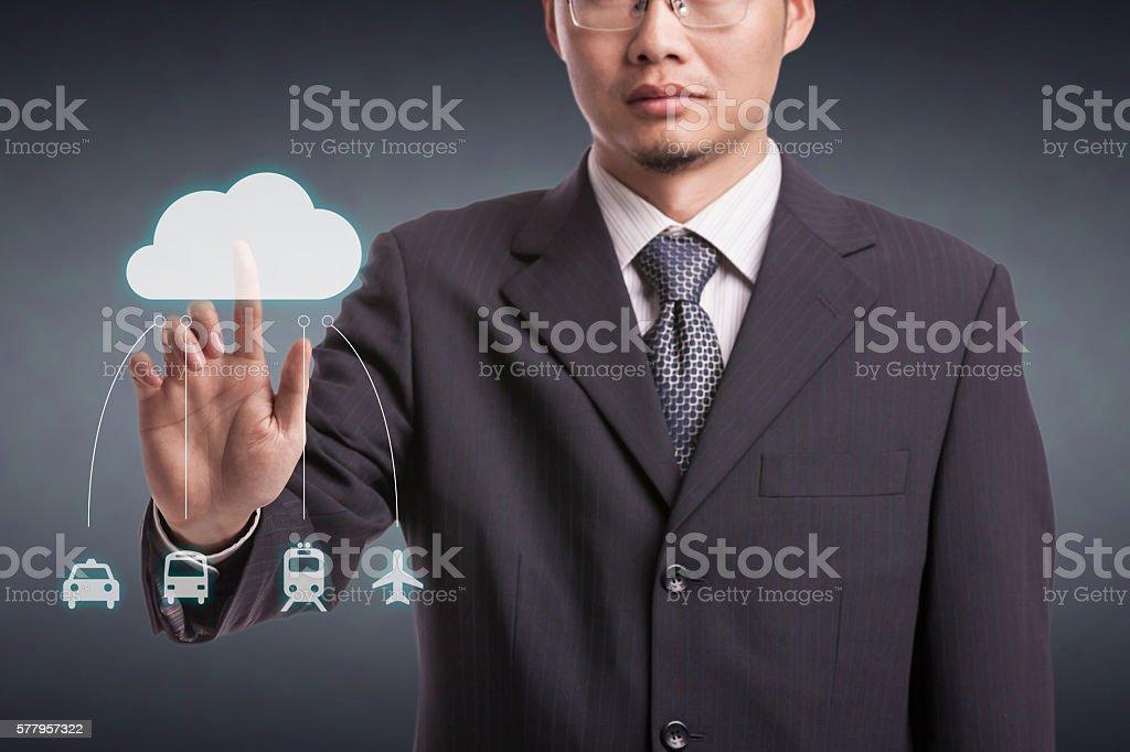 Businessman using VR stock photo