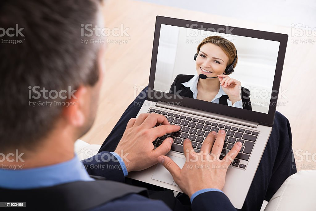 Businessman Video Chatting stock photo
