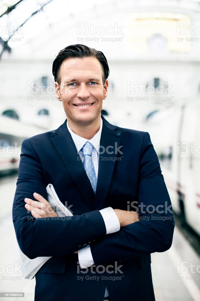 Businessman waiting at train station royalty-free stock photo