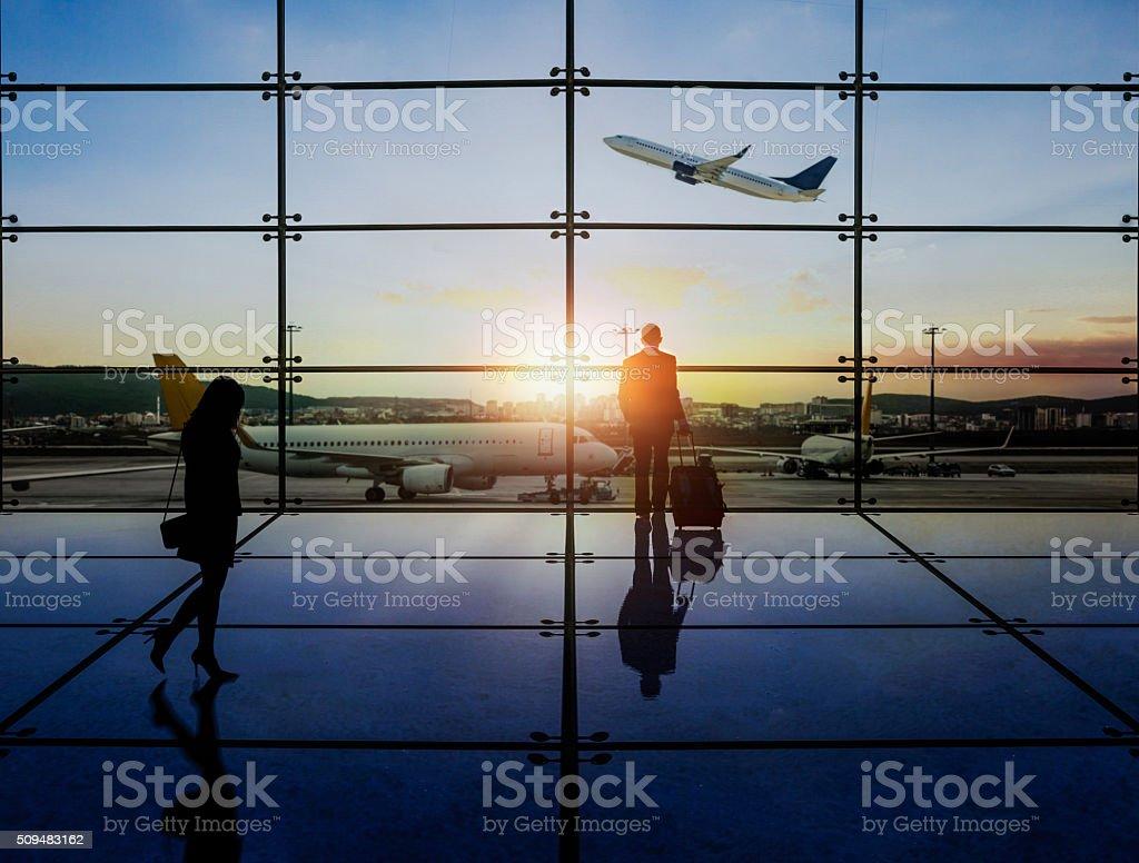 Businessman Waiting Departure stock photo