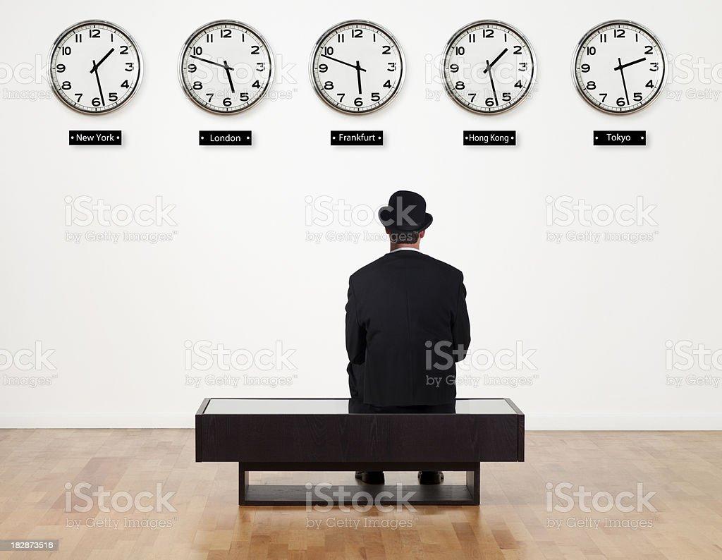Businessman waiting for something stock photo
