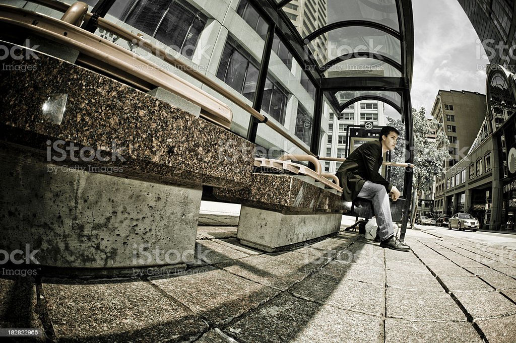Businessman waiting for the bus. royalty-free stock photo