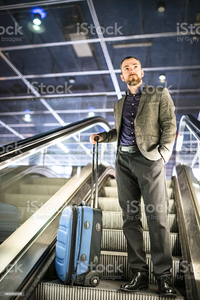 businessman waiting the train at the station stock photo