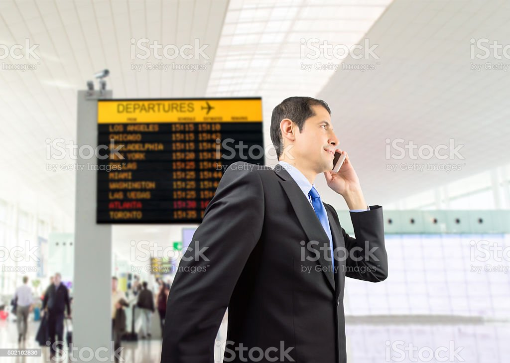 businessman walking at the airport stock photo