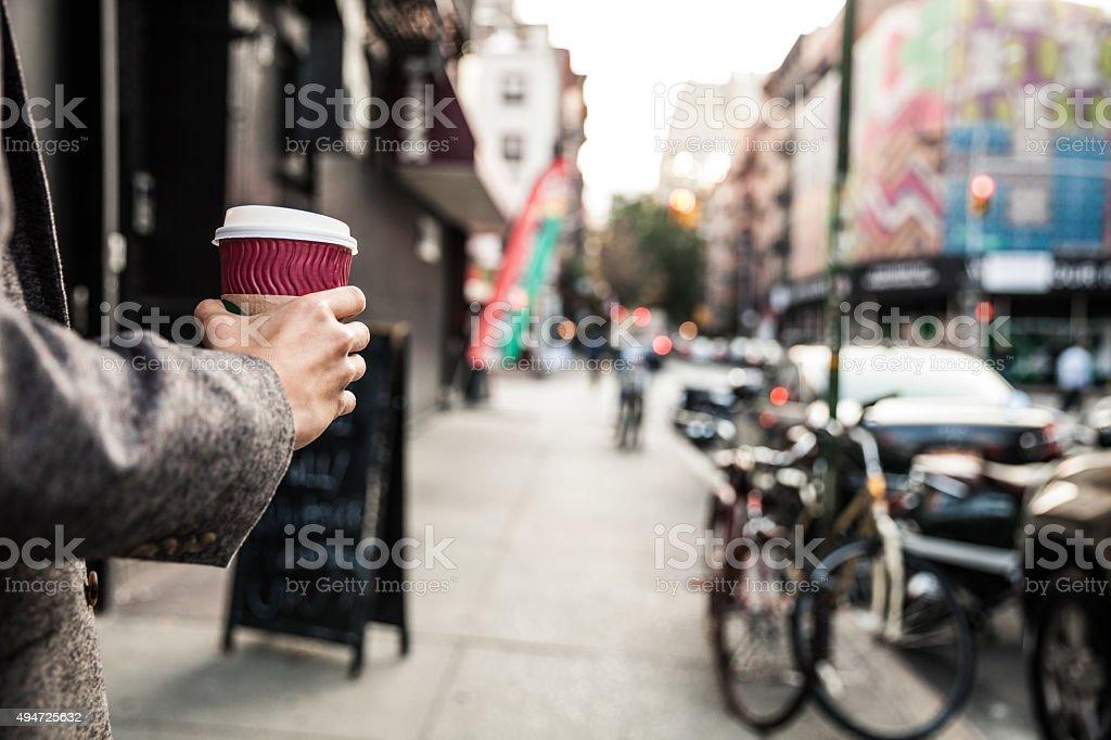 Businessman walking in Soho New York stock photo