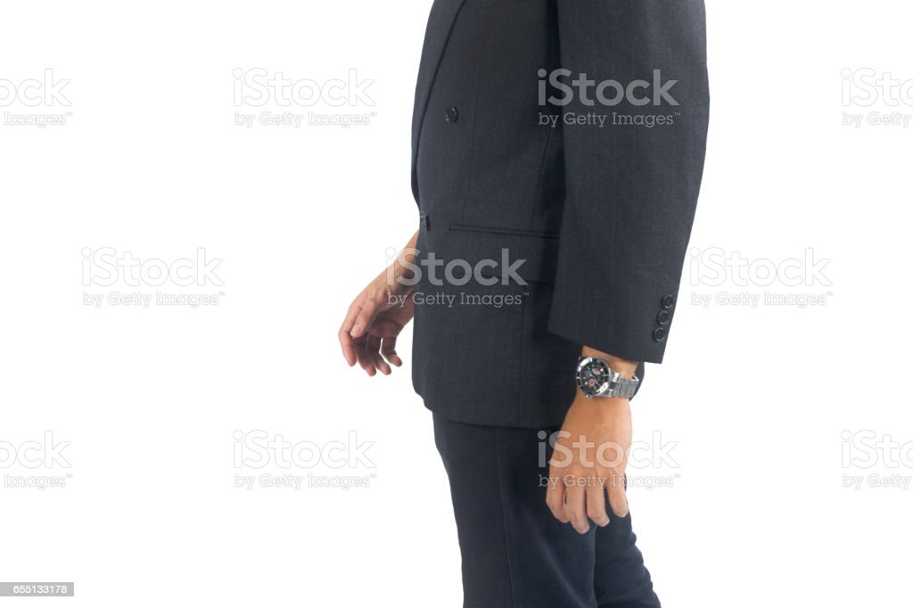 businessman  walking isolated in white stock photo