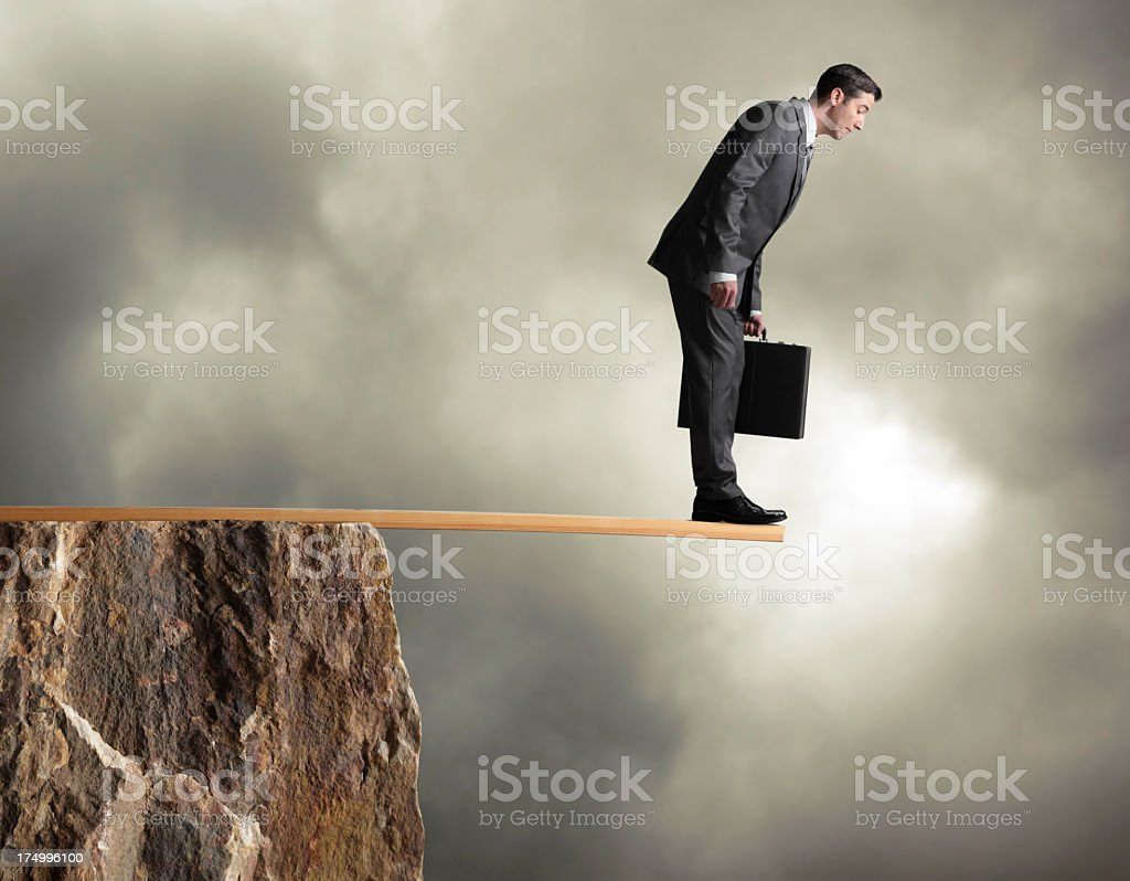 Businessman Walking the Plank royalty-free stock photo