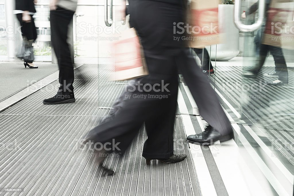 businessman walking to office stock photo