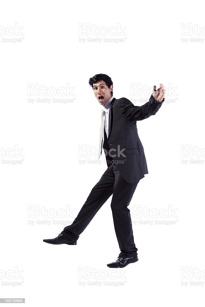 Businessman walking with fear royalty-free stock photo