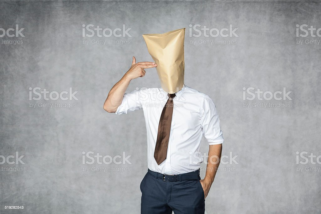 businessman wants to commit suicide stock photo