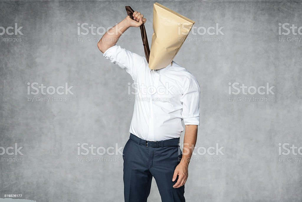 businessman wants to hang stock photo