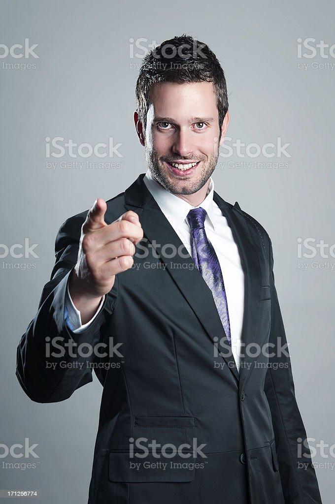 Businessman wants you stock photo