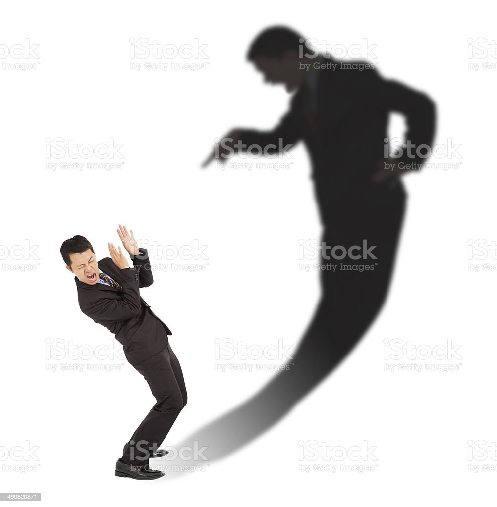 businessman was scared  person in his inner emotions stock photo