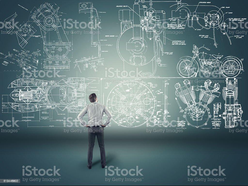 Businessman watching formulas stock photo