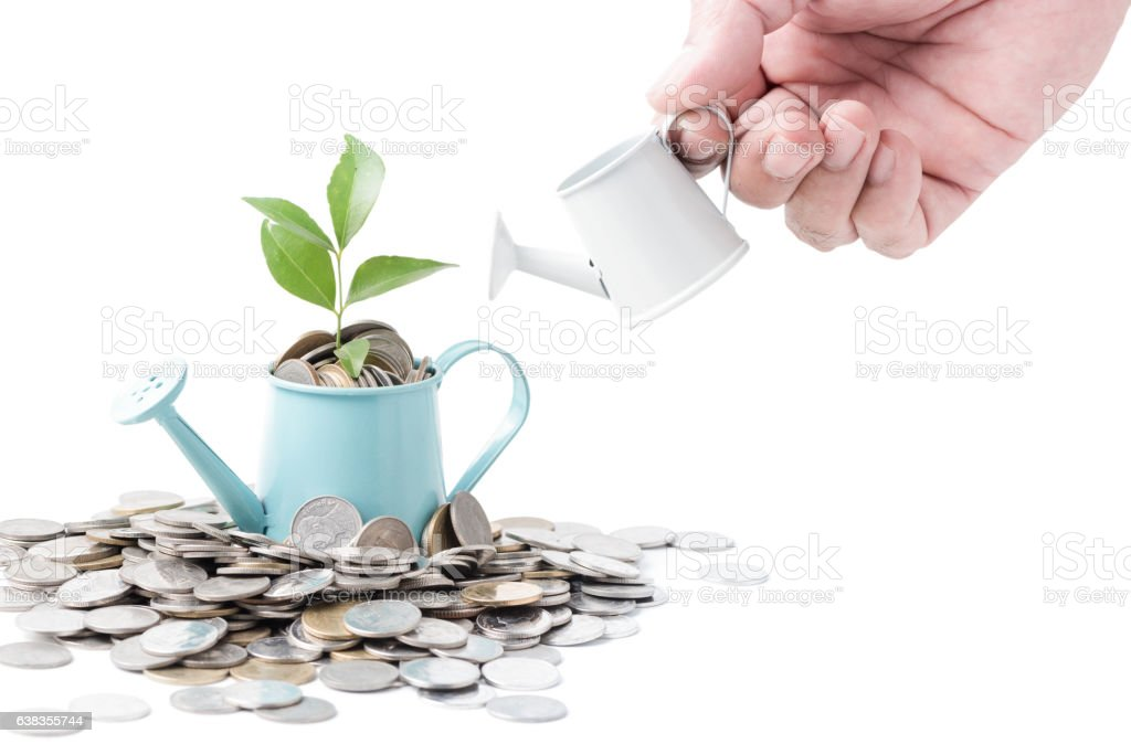 Businessman watering a tree growing out of silver coins stock photo