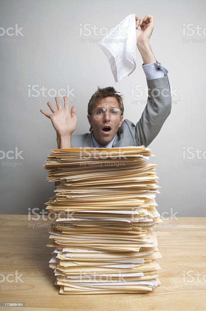 Businessman Waves White Flag in Surrender over Inbox stock photo