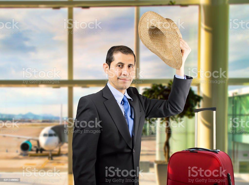 businessman waving stock photo