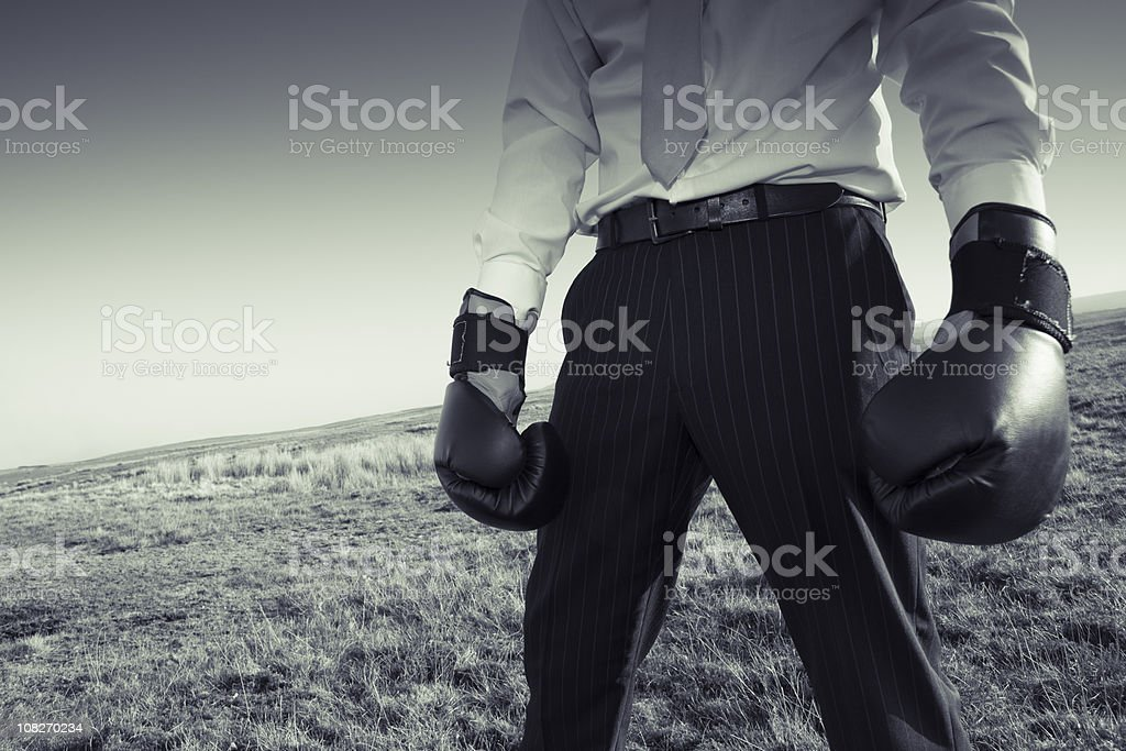 Businessman Wearing Boxing Gloves on Hill, Sepia Toned royalty-free stock photo