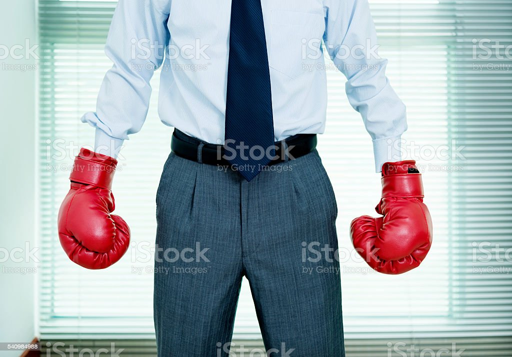 Businessman wearing boxing gloves stock photo