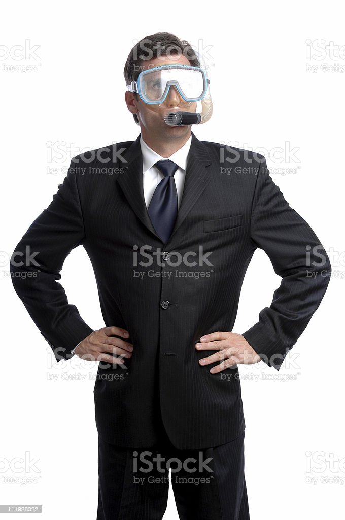 Businessman Wearing Diving Mask and Snorkel Isolated on White Background stock photo