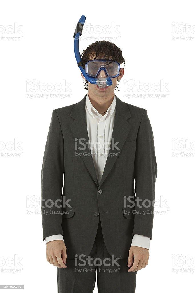 Businessman wearing snorkel stock photo