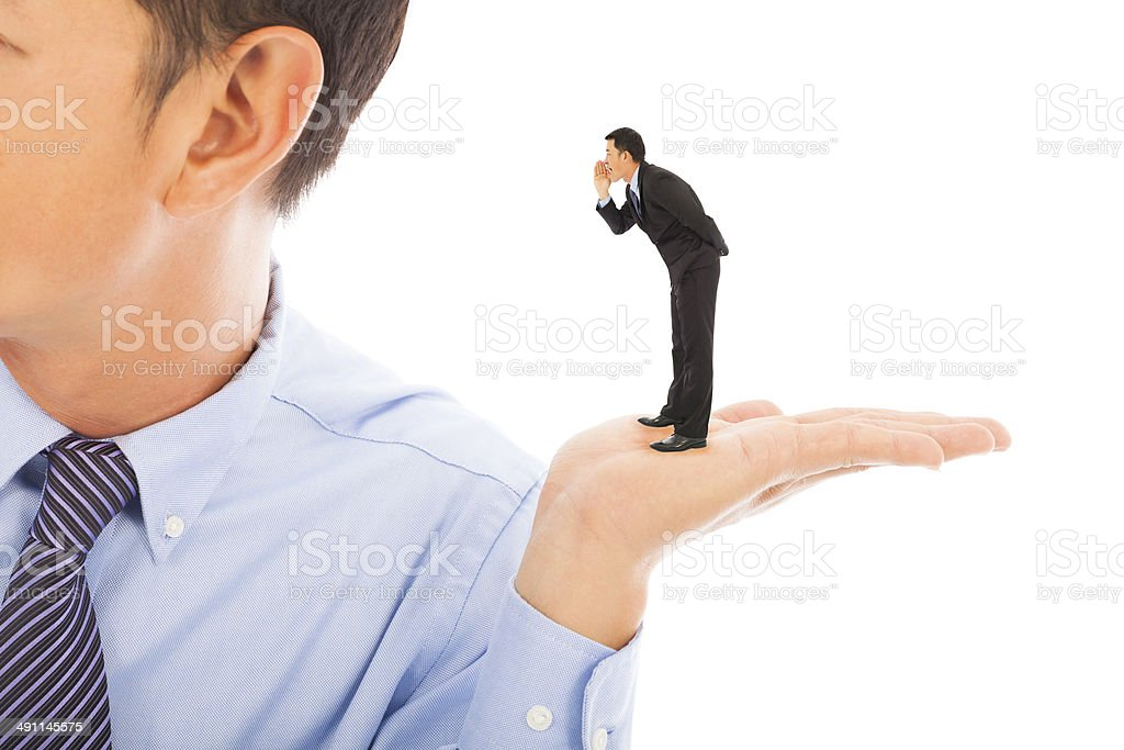 businessman whisper about secret stock photo