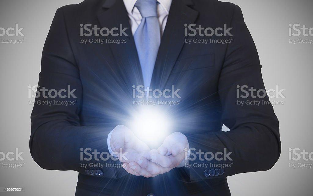 businessman whit new idea stock photo