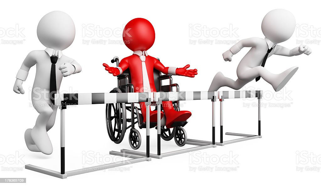 3D businessman white people. Barriers at work for disabled royalty-free stock photo