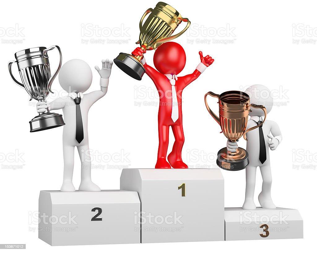 3D businessman white people. Winner on podium royalty-free stock photo