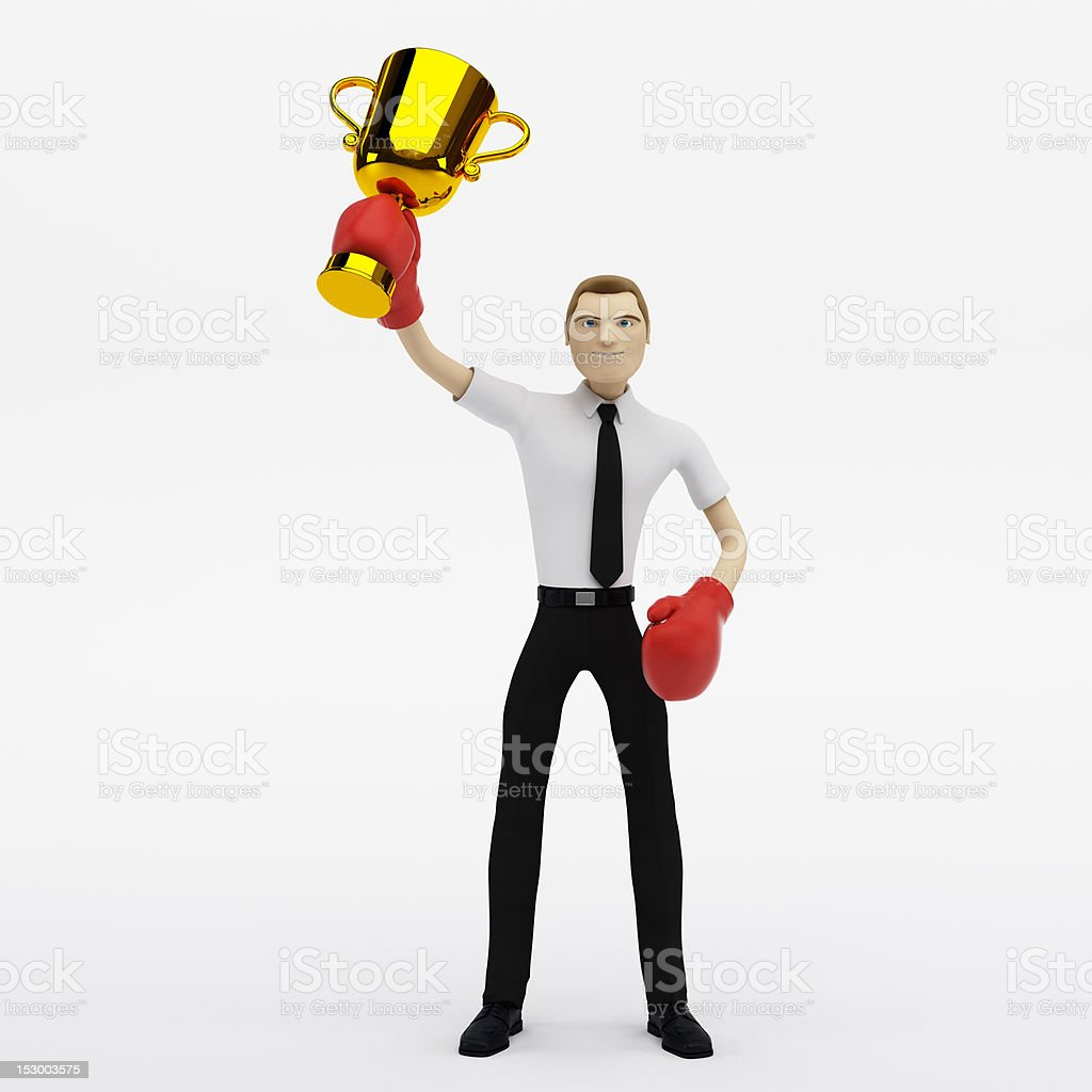 businessman winner with a trophy royalty-free stock photo