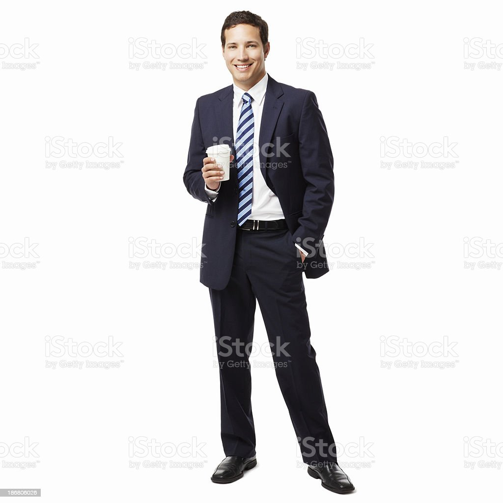 Businessman With a Cup of Coffee - Isolated royalty-free stock photo