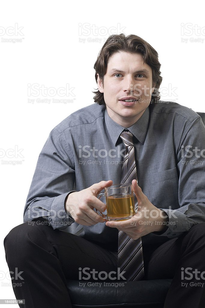 Businessman with a cup of tea royalty-free stock photo