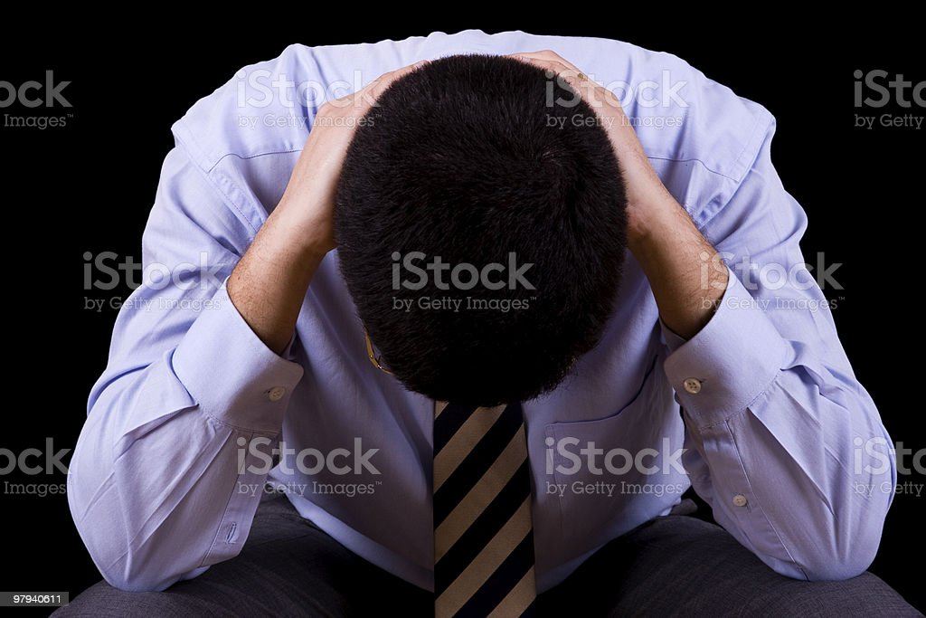 businessman with a depression stock photo