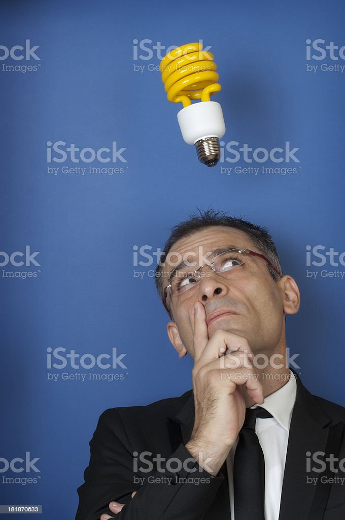 Businessman with a great idea stock photo