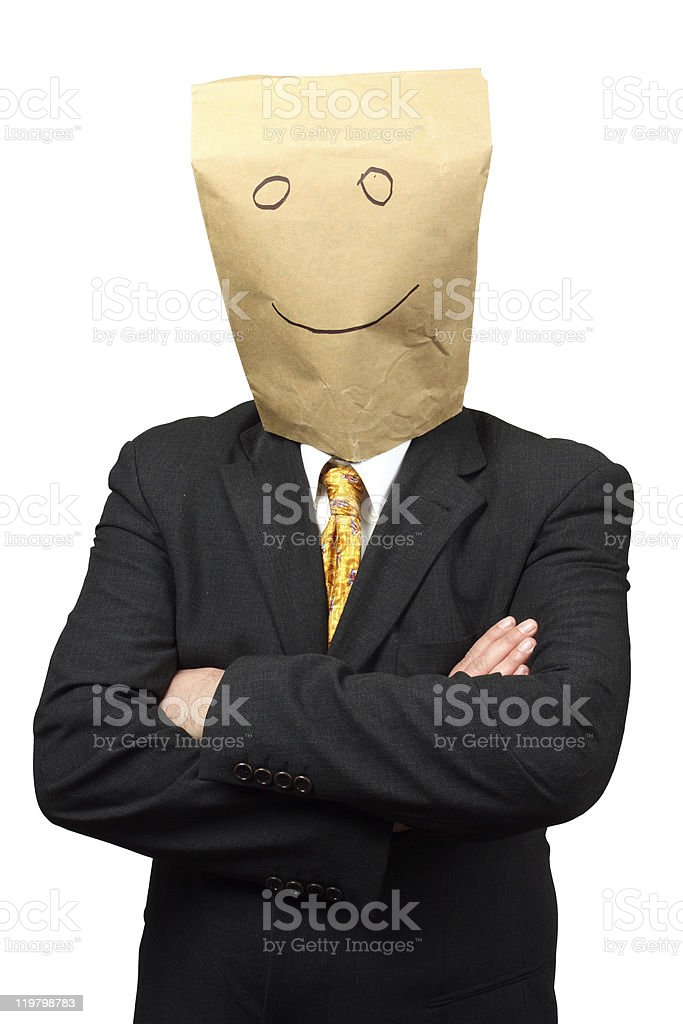 Businessman with a paper-bag royalty-free stock photo